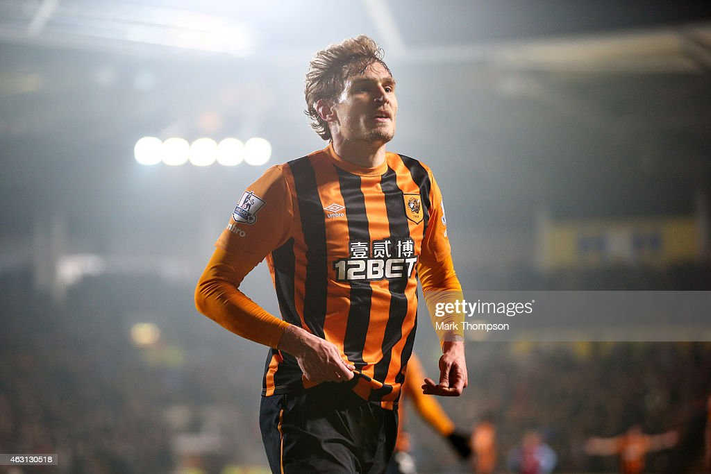 Nikica Jelevic of Hull City celebrates after scoring the opening goal during the Barclays Premier League match between Hull City and Aston Villa at the KC Stadium on February 10, 2015 in Hull, England.