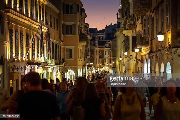 Nikiforou Theotoki Street crowded with tourists, Corfu, Greece