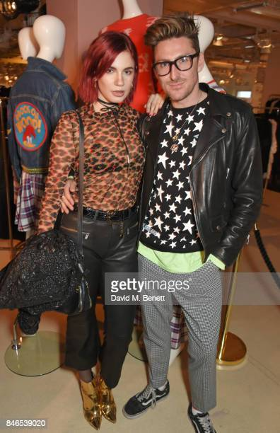 Nikita Andrianova and Henry Holland attends the launch of the House of Holland x Woody Woodpecker London Fashion Week pop up at Fenwick Of Bond...