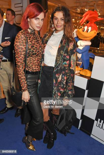 Nikita Andrianova and Katie Keight attend the launch of the House of Holland x Woody Woodpecker London Fashion Week pop up at Fenwick Of Bond Street...
