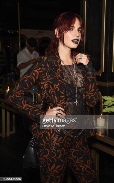 Nikita Andrianova attends an after party celebrating the Pam Hogg catwalk show during London Fashion Week September 2018 at Kadie's on September 14...