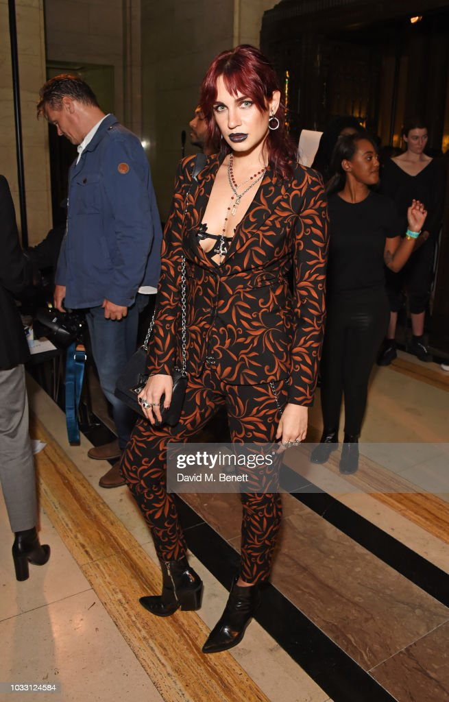 Nikita Andrianova attends the Pam Hogg front row during London Fashion Week September 2018 at The Freemason's Hall on September 14, 2018 in London, England.