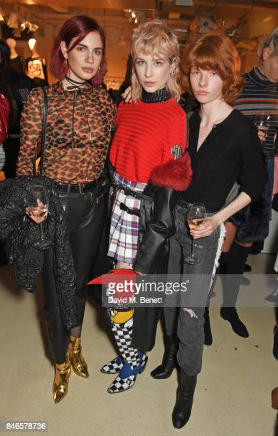 Nikita Andrianova Charlie Barker and Edwina Preston attend the launch of the House of Holland x Woody Woodpecker London Fashion Week pop up at...