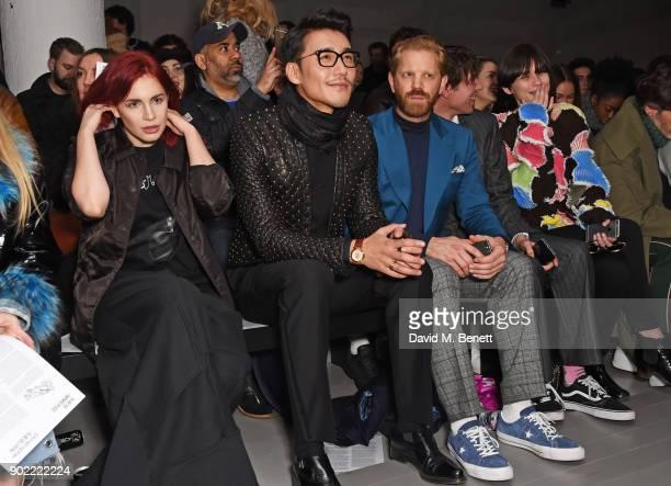 Nikita Andrianova Hu Bing Alistair Guy Oscar Scheller and Lara Mullen attend the Christopher Raeburn show during London Fashion Week Men's January...