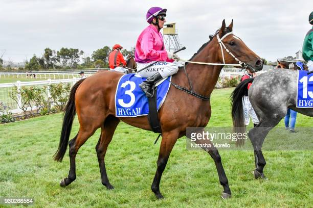 Nikita Beriman returns to the mounting yard aboard Bijou Belle after winning the Danny O'Brien MP BM58 Handicap at Stony Creek Racecourse on March 11...