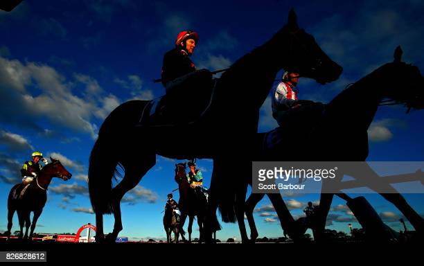 Nikita Beriman riding Joe's Pride returns to scale after competing in race 9 the Sheamus Mills Bloodstock Handicap during Grand National Hurdle Day...