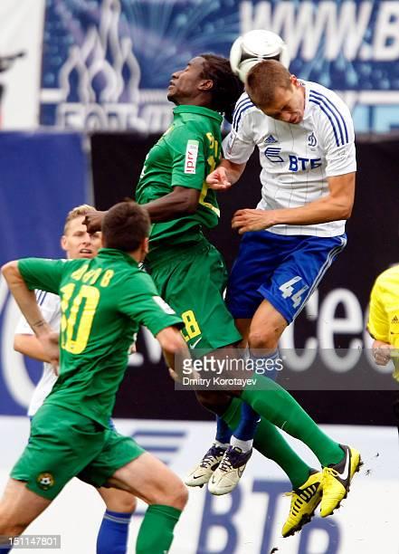 Nikita Chicherin of FC Dynamo Moscow battles for the ball with Ibrahima Balde of FC Kuban Krasnodar during the Russian Premier League match between...