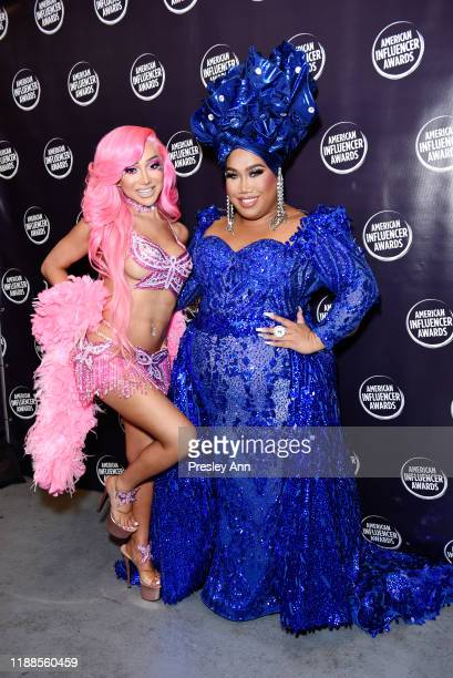 Nikita Dragun and Patrick Starrr pose backstage during the 2nd Annual American Influencer Awards at Dolby Theatre on November 18 2019 in Hollywood...