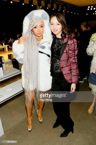 Nikita Dragun and Vivienne Hu prepare backstage for Vivienne Hu Spring/Summer 2020 New York Fashion Week Runway Show during New York Fashion Week The...