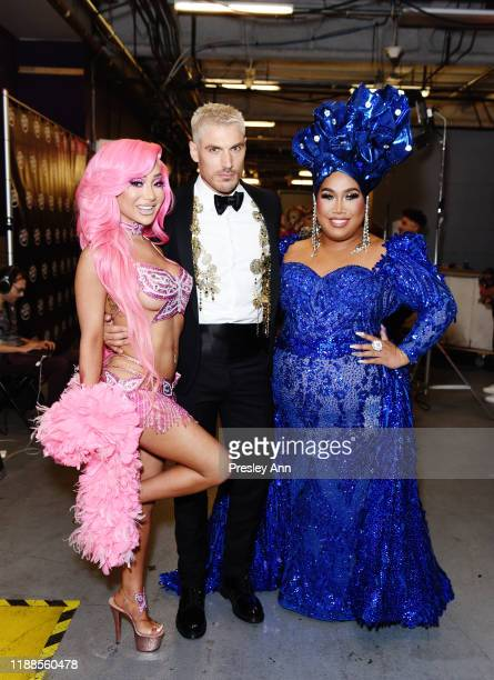 Nikita Dragun Chris Appleton and Patrick Starrr pose backstage during the 2nd Annual American Influencer Awards at Dolby Theatre on November 18 2019...