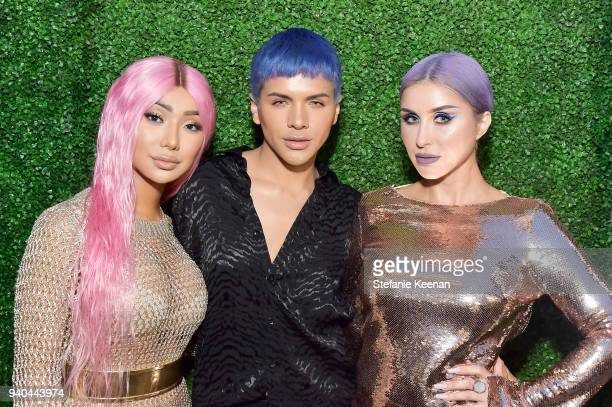 Nikita Dragun Gabriel Zamora and Claudia Soare attend KKWxMario Dinner at JeanGeorges Beverly Hills on March 31 2018 in Beverly Hills California