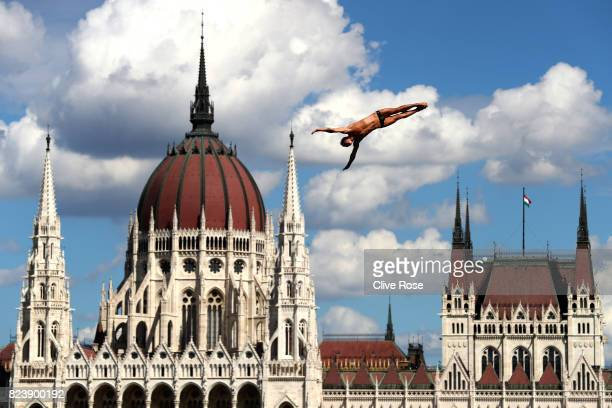 Nikita Fedotov of Russia competes during the Men's High Dive preliminary round on day fifteen of the Budapest 2017 FINA World Championships on July...