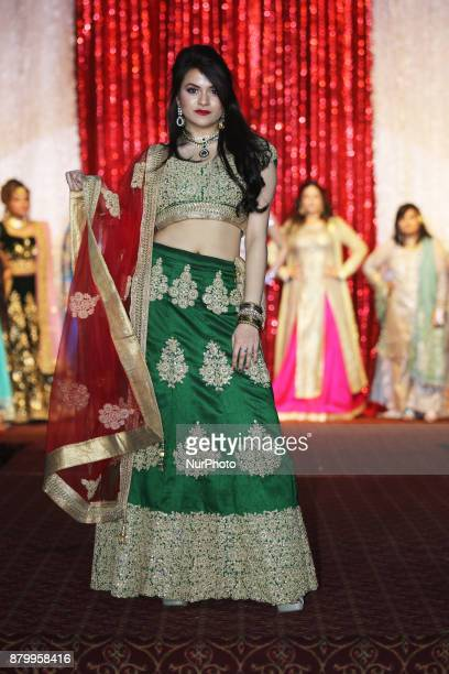 Nikita Gantayet winner of the Miss South Asia Canada 2017 beauty pageant models an elegant Indian outfit during a fashion show held as part of the...