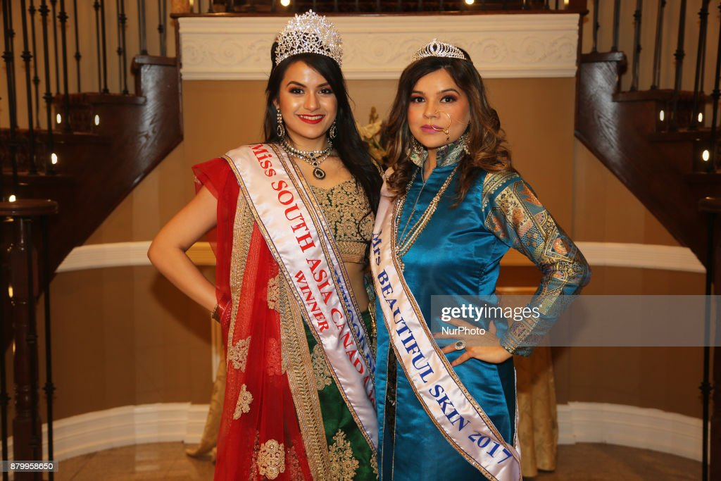 Nikita Gantayet winner of the Miss South Asia Canada 2017 beauty pageant poses with another beauty pageant winner during the Diwali Gala Celebration..