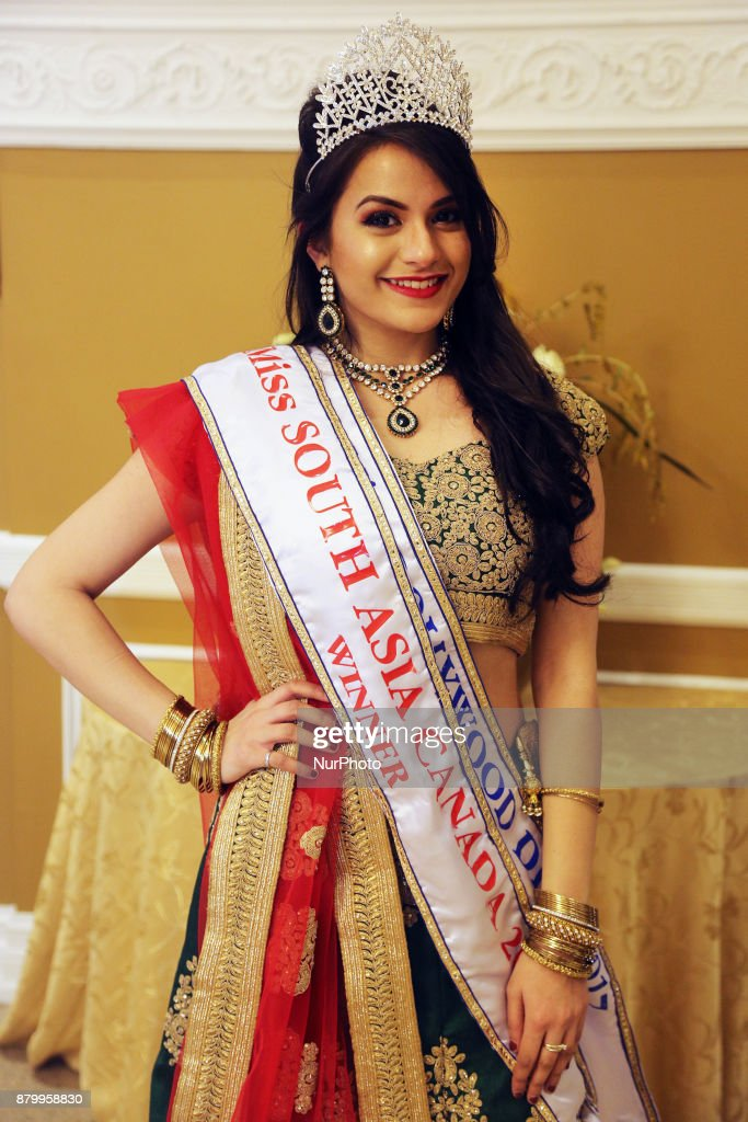 Nikita Gantayet winner of the Miss South Asia Canada 2017 beauty pageant attends the Diwali Gala Celebration held in Mississauga Ontario Canada on 25.
