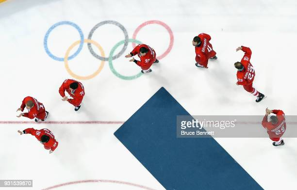 Nikita Gusev of Olympic Athlete from Russia along with other skaters celebrate winning the gold medal against Germany during the Men's Gold Medal...