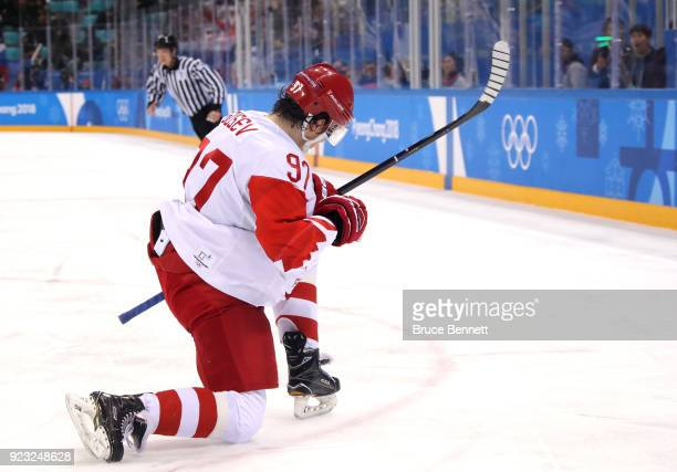 Nikita Gusev of Olympic Athlete from Russia celebrates after scoring his team's first goal against Czech Republic in the second period during the...