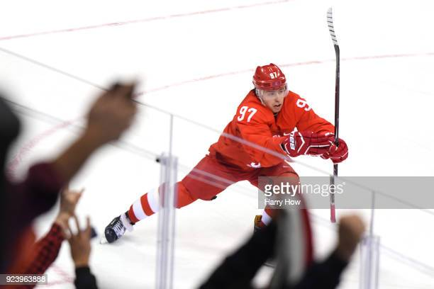 Nikita Gusev of Olympic Athlete from Russia celebrates after scoring the tying goal in the third period against Germany during the Men's Gold Medal...