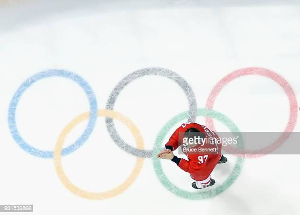 Nikita Gusev of Olympic Athlete from Russia celebrates winning the gold medal against Germany during the Men's Gold Medal Game on day sixteen of the...