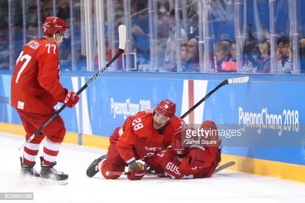 Nikita Gusev of Olympic Athlete from Russia celebrates with Andrei Zubarev after scoring the tying goal in the third period against Germany during...