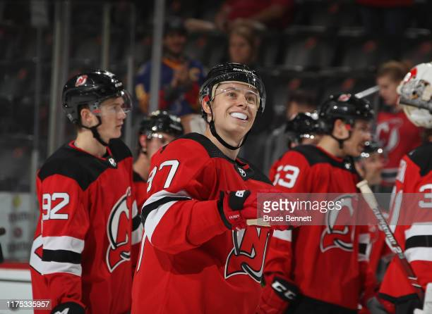 Nikita Gusev of the New Jersey Devils celebrates a win over the Boston Bruins during preseason action at the Prudential Center on September 16 2019...