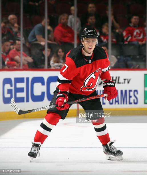 Nikita Gusev of the New Jersey Devils skates against the Boston Bruins during preseason action at the Prudential Center on September 16 2019 in...