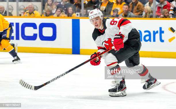 Nikita Gusev of the New Jersey Devils skates against the Nashville Predators at Bridgestone Arena on December 7 2019 in Nashville Tennessee