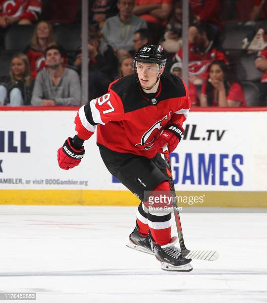 Nikita Gusev of the New Jersey Devils skates against the New York Islanders at the Prudential Center on September 21 2019 in Newark New Jersey The...