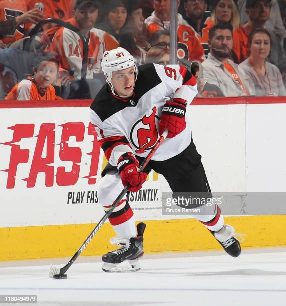 Nikita Gusev of the New Jersey Devils skates against the Philadelphia Flyers at the Wells Fargo Center on October 09 2019 in Philadelphia...