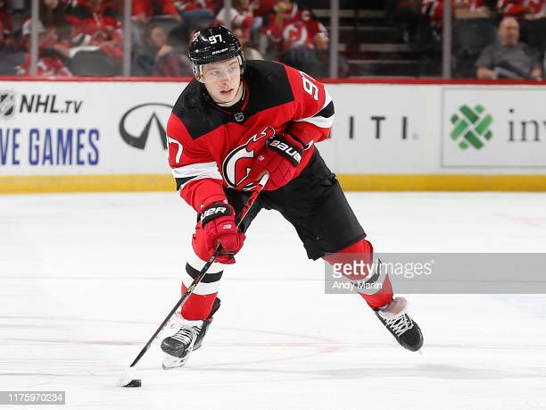 Nikita Gusev of the New Jersey Devils skates with the puck during the first period against the Florida Panthers on October 14 2019 at the Prudential...