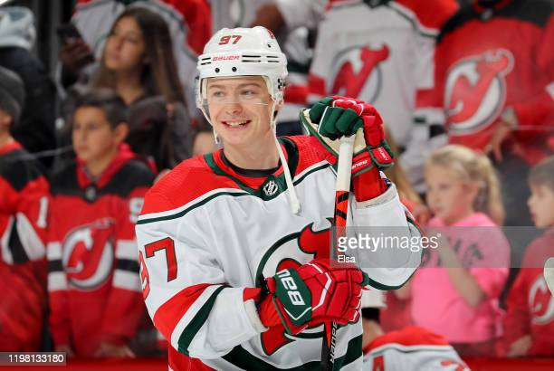 Nikita Gusev of the New Jersey Devils smiles during warm ups before the game against the New York Islanders at Prudential Center on January 07 2020...