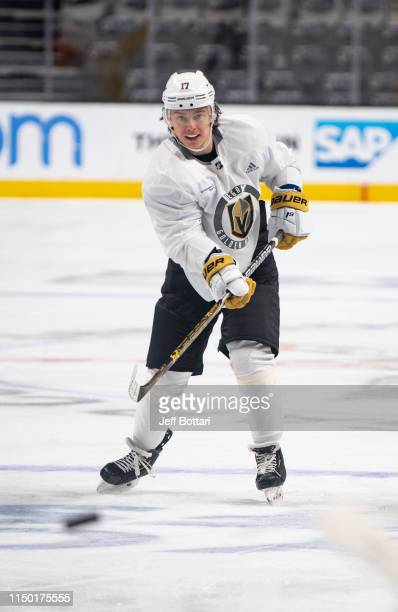 Nikita Gusev of the Vegas Golden Knights skates during practice prior to Game Two of the Western Conference First Round during the 2019 Stanley Cup...