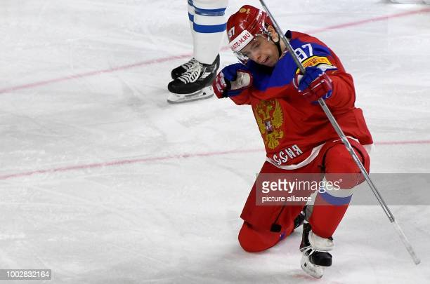 Nikita Gusev who scored for Russia the 30 celebrates during the Ice Hockey World Championship thirdplace match between Finland and Russia in the...