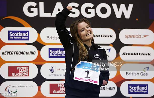 Nikita Howarth of New Zealand celebrates on the podium with her Gold medal from the Women's 200m IM SM7 Final during day Four of the IPC Swimming...