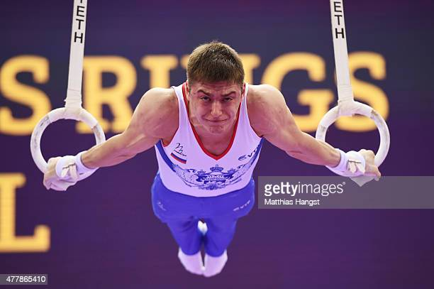 Nikita Ignatyev of Russia competes in the Men's Rings final on day eight of the Baku 2015 European Games at the National Gymnastics Arena on June 20...