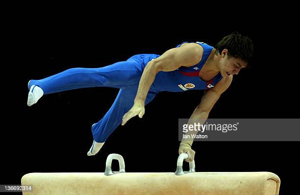 Nikita Ignatyev of Russia in action on the Pommell Horse during day one of the Men's Gymnastics Olympic Qualification round at North Greenwich Arena...