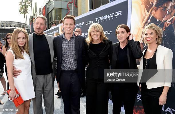 Nikita KahnLarry EllisonDavid Ellison Barabar BoothMegan Ellison and Sandra Lynn Modic attend the premiere of Paramount Pictures' 'Terminator...