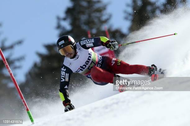 Nikita Kazazaev of Russia in action during the Audi FIS Alpine Ski World Cup Men's Giant Slalom on February 28, 2021 in Bansko Bulgaria.
