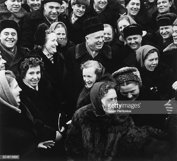 Nikita Khrushchev among a crowd of Soviet people