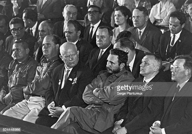 Nikita Khrushchev and Fidel Castro watching a sporting event