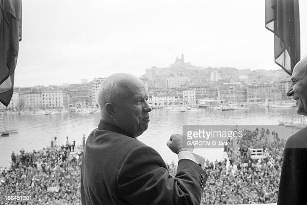 Nikita Khrushchev And His Wife In Official Visit To France France Marseille 28 mars 1960 Nikita Sergueïevitch KHROUCHTCHEV Premier secrétaire du...