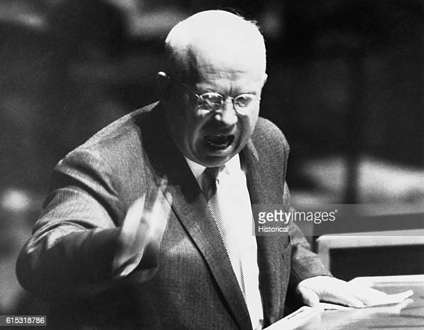 Nikita Khrushchev during his speech before the General Assemble on October 11 1960 in New York City
