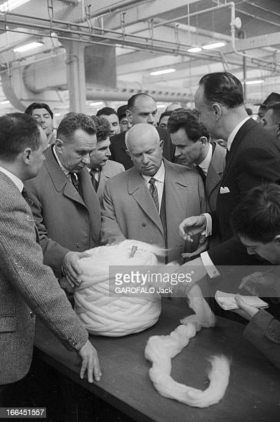 Nikita Khrushchev In Official Visit To Roubaix At The Factory 'La Lainiere De Roubaix'. France, Roubaix, 30 mars 1960, Nikita Sergueïevitch...