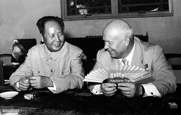 Nikita Khrushchev USSR premier and Mao Zedong president of the People's Republic of China during their meeting in Beijing on August 81958 in Beijing...