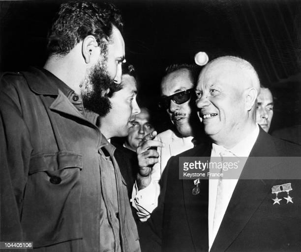 Nikita KHRUSHCHEV, USSR Soviet Union Communist Party's General Secretary, in Havana, speaking through an interpreter to the Cuban revolutionary...