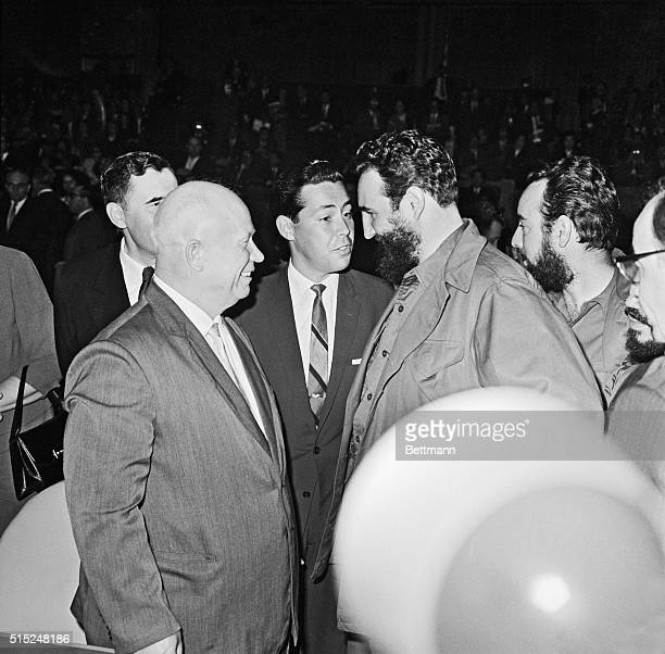 Nikita Khrushchev with Fidel Castro Kwame Nkrumah and Frederick A Boland at the 15th General Assembly meeting at the United Nations