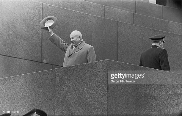 Nikita Khrushchev's final official appearance at the Lenin Mausoleum