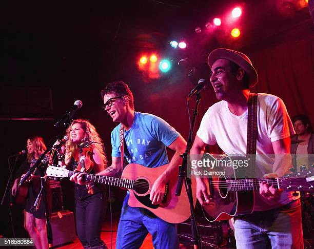 Nikita King Natalie Stovall of Natalie Stovall and The Drive Producer Eddie and Bobby Bones perform at Bobby Bones And The Raging Idiots SOLD OUT...