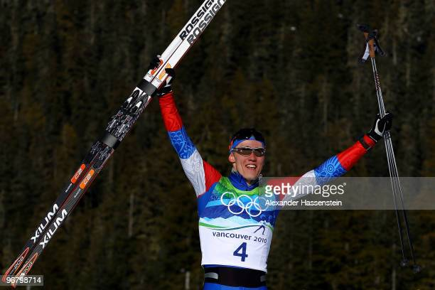Nikita Kriukov of Russia celebrates after he won gold in the Men's Individual Sprint C Final on day 6 of the 2010 Vancouver Winter Olympics at...
