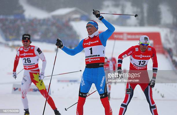 Nikita Kriukov of Russia celebrates victory in the Men's Cross Country 1.5km Classic Sprint Final at the FIS Nordic World Ski Championships on...